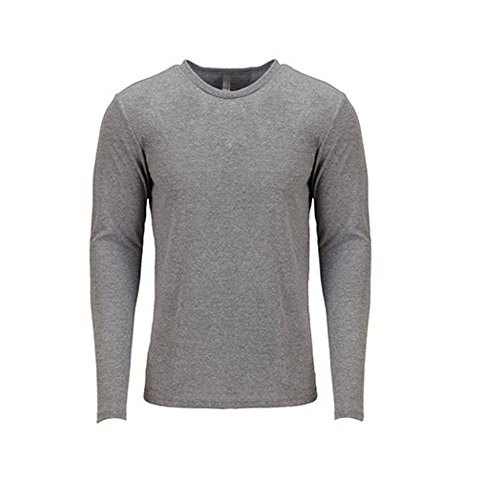 Next Level Men's Rib-Knit Tri-Blend Long-Sleeve T-Shirt, L, Premium Heather - T-shirt Tri Blend