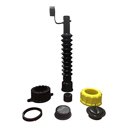 Kool Products Retail Pack Flexible Replacement Gas Spout with 2 Screw Collar Caps(1 Fine & 1 Coarse - Fits Most of The Cans), 2 Base Caps, 1 Stopper Cap and 1 Stainless Steel Filter/Flame Arrestor.