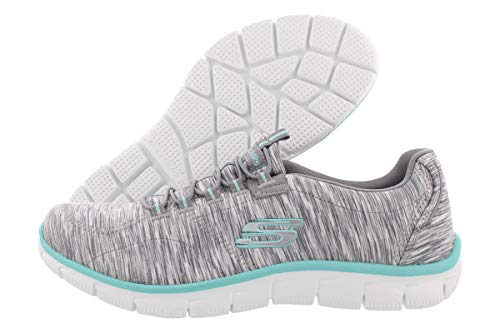 Skechers Women's Sport Empire - Rock Around Relaxed Fit Fashion Sneaker, Gray/Light Blue, 9 B(M) US (Skechers Slip Shoes On)