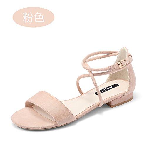 Sandali Fascette EU37 Ampia Con Calzature Heel Con Donne Scarpe Eu36 Donna Con SHOESHAOGE High Sandali Appartamento Terrazza Toe wn7qHqZT