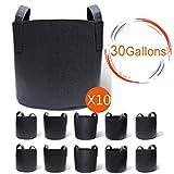 Gardzen 10-Pack 30 Gallon Grow Bags, Aeration Fabric Pots with Handles