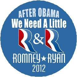 """(Quantity 50) After Obama We Need A Little R&R Romney Ryan 1.25"""" Pinback Buttons"""