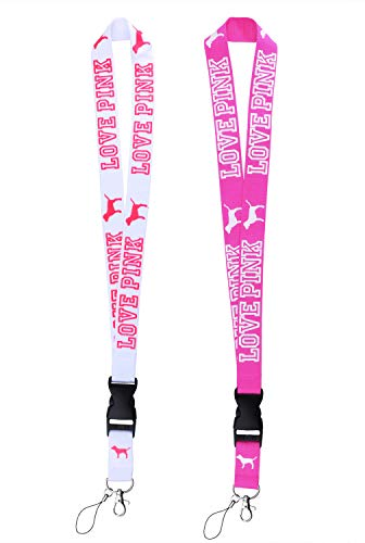 Lanyard 2 Pack Neck Detachable Lanyard Strap for Keychains Keys ID Holder Cell Phones Bags Accessories- White and Pink with Quick Release Buckle.