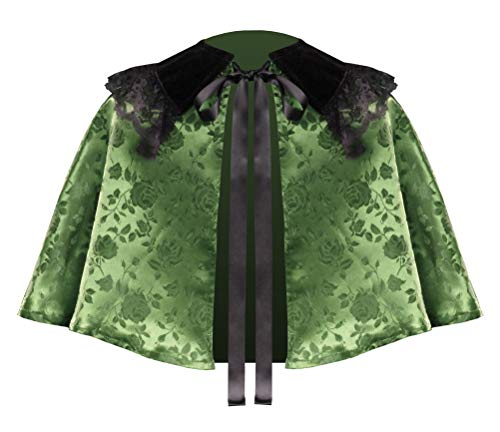 Steampunk Victorian Gothic Floral Satin Medieval Theater Western Renaissance Civil War Stage Collar Capelet (Green)