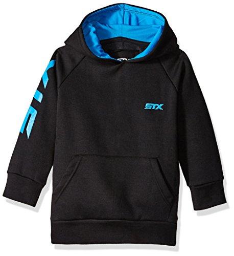 Boys Field Sweatshirt - STX Boys' Big Boys' Fleece Pullover Hoodie, Black/Turquoise, 10/12