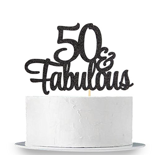 INNORU Black Glitter 50 & Fabulous Cake Topper - 50th Birthday Party Decoration Sign