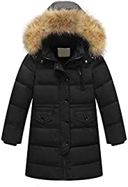 dumanfs Kids Girls Winter Warm Faux Fur Hooded Parka Thick Down Coat Puffer Jacket Padded Overcoat 6M-4T