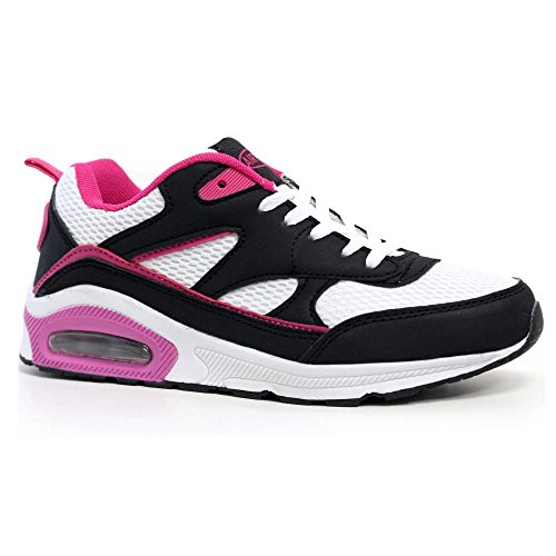 8 4 Trainers Plum Air White Running Ladies Sports Shock Shoes Black Size Fitness Absorbing Tech Gym 714Hw
