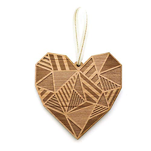 Patchwork Heart Laser Cut Wood Ornament (Christmas/Holiday / Love/Anniversary / (Festive Hearts Ornament)