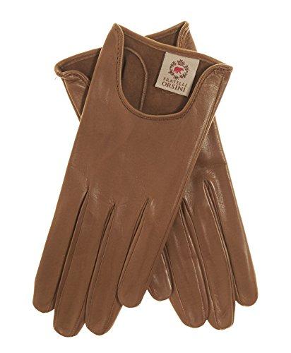 Fratelli Orsini Women's Short Unlined Italian Leather Gloves Size 7 Color Camel