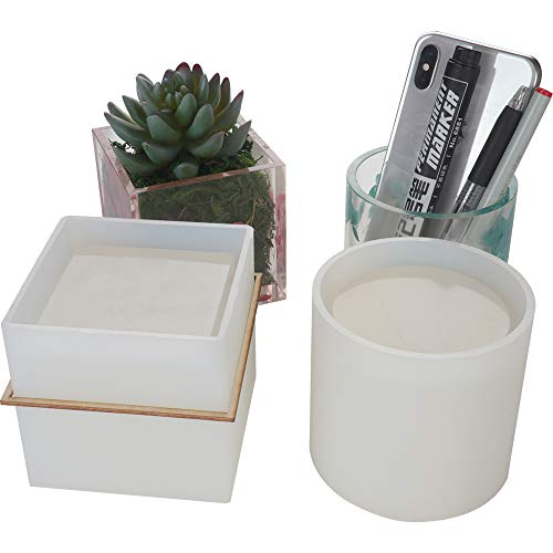 2 Pack Big DIY Plant Pot Mold, Cube and Cylinder Resin Planter Mold, Square Silicone Molds, DIY Flower Pot Molds, Pen Holder - Mold Pot