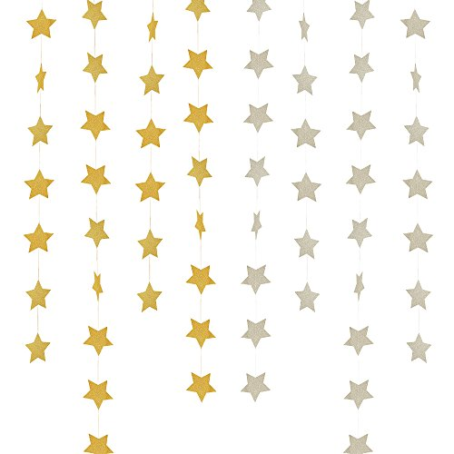 Star Banner Garland Decorations Stars Paper Birthday Party Banner Twinkle Gold Glitter Bunting Banner Sparkling Star Hanging Decor For Wedding Christmas Holiday Photo Booth Props Golden Silver 4 Pack