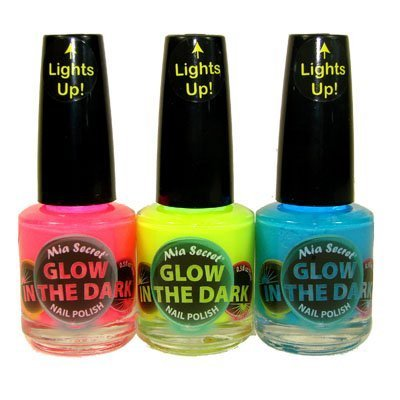 Mia Secret Glow In The Dark Neon Nail Lacquer Nail Polish 3pcs Set Neon Blue,Neon Hot Pink, Neon Yellow ( 0.5 oz bottles)