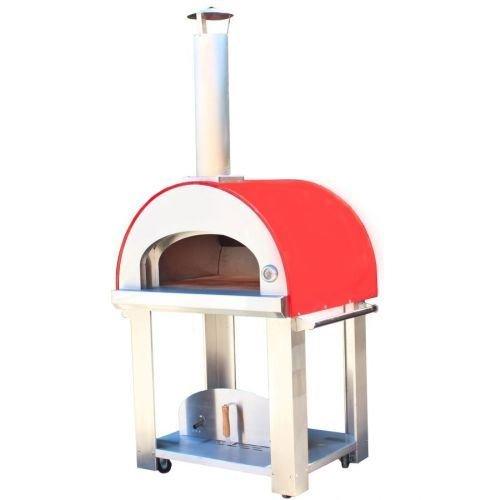 grande32 horno de leña portátil Pizza con ruedas, color rojo ...