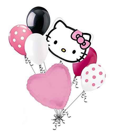 7 pc Hello Kitty Head Pink Bow Happy Birthday Balloon Bouquet Decoration - Kitty With Hello Bow Pink