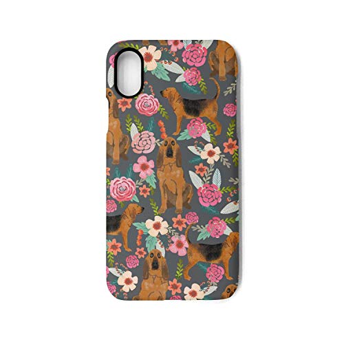 iPhone X iPhone Xs Case Bloodhound Dogs and Floral Shock Absorption TPU Cover Case Drop Protection Phone Case for iPhone X/XS