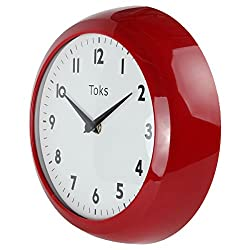Lily's Home Retro Kitchen Wall Clock, Large Dial Quartz Timepiece Red 9 1/4 Inch