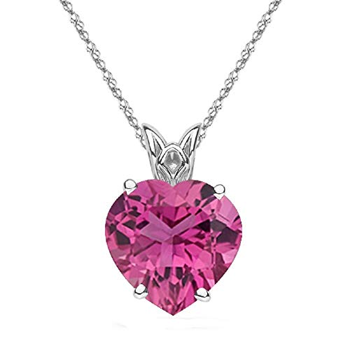 (1.50 Cts of 8 mm AAA Quality Heart Morro Redondo Pink Tourmaline Scroll Solitaire Pendant in Platinum)