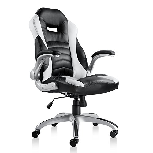 Bonum Gaming Chair Racing Style High-Back PU Leather Office Chair with Backrest Seat and Armrest Computer PC Chair with Adjustable Height Ergonomic and Sturdy Design (Black) by BONUM