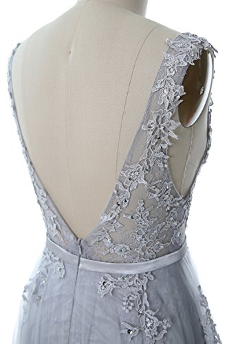 MACloth Long Party Vintage Elegant Neck Dress Formal Boat Lace Gold Wedding Prom Gown rfwrx