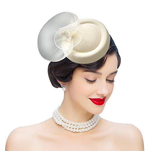 Wool Vintage Womens Hat - Edith qi Vintage Mesh Net Wool Felt Pillbox Beret Women Fascinators Hats Hair Clip