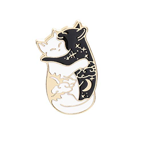 YouCY Cat Enamel Lapel Pin, The Cuddle of The Cat's Brooch Cute Brooch Black-and-white Cat for Woman Men Outdoorsy Gifts Clothes Bags Decor ()