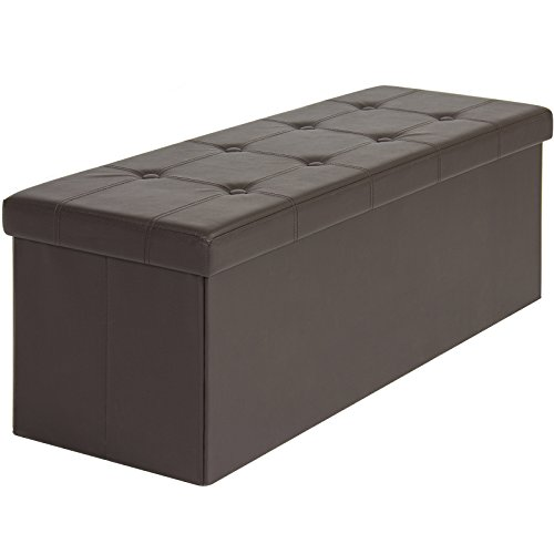 Accent Brown Ottoman (Best Choice Products Faux Leather Space Saving Folding Storage Ottoman Foot Rest Stool Seat Padded Bench w/ Velcro Divider, 300lbs Weight Capacity - Brown)