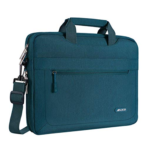MOSISO Laptop Shoulder Bag Compatible 15-15.6 Inch MacBook Pro, Ultrabook Netbook Tablet with Adjustable Depth at Bottom, Polyester Messenger Briefcase Carrying Handbag Sleeve Case Cover, Deep Teal
