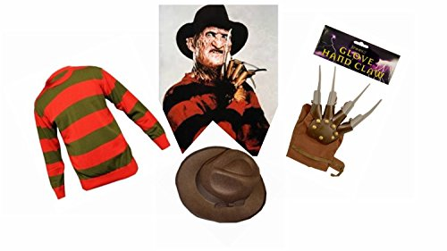 Wicked Big Boys' Striped F Die F Dy Krueger Kruger Style Piece Set Small Mens / Large Boys Red With Mixed Fibres Green/Brown/Grey Stripe (Freddy Krueger Costume Boys)