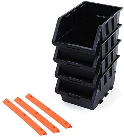 8-Piece Tactix 320604 Plastic Tray Bin Set Black//Orange