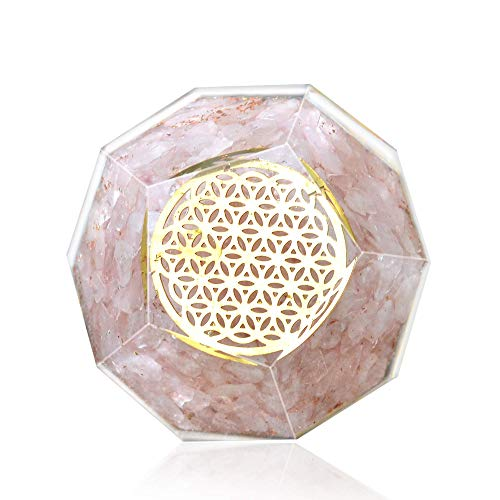 - Orgone Dodecahedron Crystal - Emf Protection Flower Of Life Orgone Energy Generator - Rose Quartz Orgonite Dodecahedron Crystal for - Chakra healing Psychic Growth Love Stone