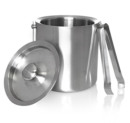 King International Stainless Steel Double Walled Insulated Ice Bucket with tong, 1750 ml