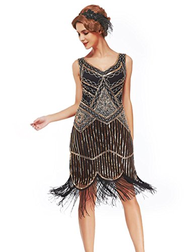 Uniq Sense XS-XXL Women's Roaring 20s V-Neck Gatsby Dresses- Vintage Inpired Sequin beaded Flapper Dresses (XXL, dark gold) ()
