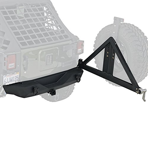 - Smittybilt 76856 XRC Black Textured Rear Bumper with Hitch and Tire Carrier for Jeep Wrangler/Wrangler Unlimited