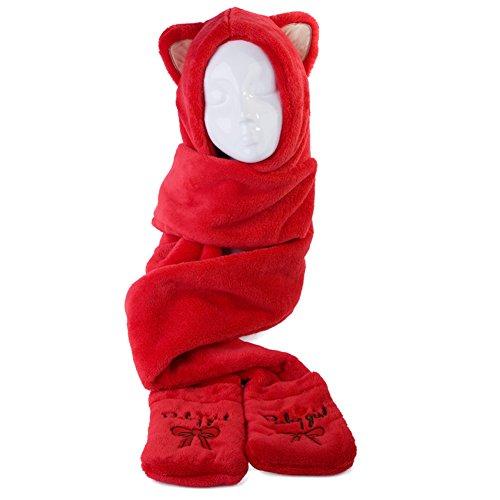 おなかがすいた闇バンふわふわ猫耳マフラー  帽子付きフリースマフラー モコモコ 厚手  多機能防寒グッズ 3WAY マルチ機能 ポケット付 (レッド)