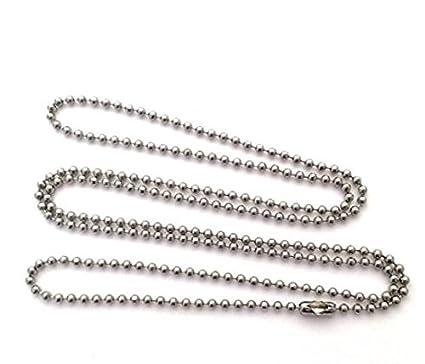 NiceButy 10 piezas de acero inoxidable 75 cm cadena de bolas militares perro etiquetas collar DIY accesorios