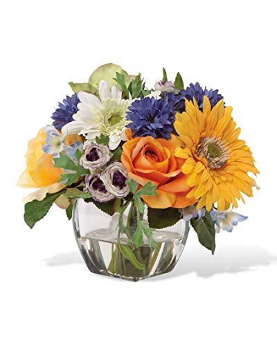 Gerbera, Rose & Cornflower Silk Flower Arrangement ()