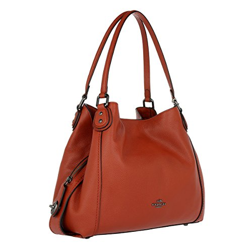 Polished Bag Shoulder Black Leather Edie Coach Leather Pebbled Burgundy Turnlock 1xwqOSW0t