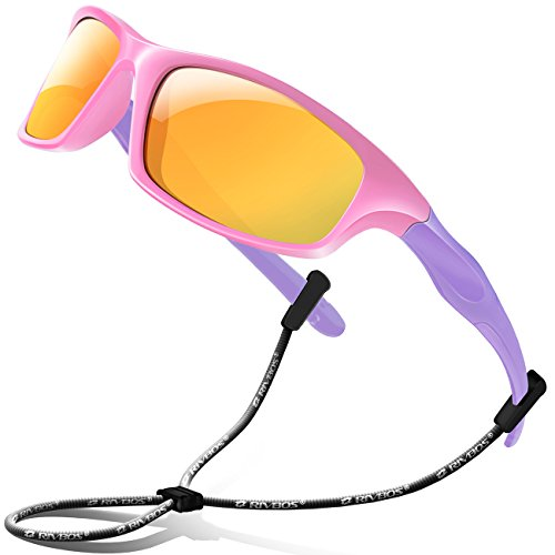 RIVBOS Rubber Kids Polarized Sunglasses With Strap Glasses Shades for Boys Girls Baby and Children Age 3-10 RBK003 (14305-Pink Mirror ()
