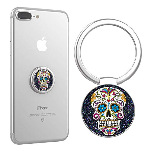 Phone Ring, Finger Ring Stand Ultra-Thin Swivel Ring Buckle Phone Grip Kickstand Cell Phone Stand for Universal Smartphone iPhone X 8 Plus 7 7 Plus /6s 6 Plus/Galaxy S8 Plus - Sugar Skull Navy Glitter ()
