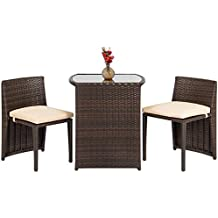 Best Choice Products Outdoor Patio Furniture Wicker 3pc Bistro Set W/ Glass Top Table, 2 Chairs- Brown