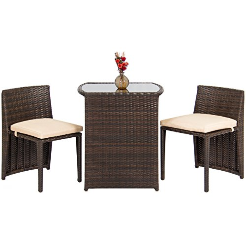 Best Choice Products Outdoor Patio Furniture Wicker 3pc Bistro Set W/ Glass Top Table, 2 Chairs- Brown (Bistro Garden Chairs)