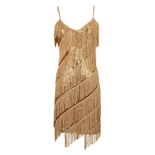 [Colorful House Women's 1920s Sequin Flapper Party Latin Dance Dress, Gold,OneSize(US size 4-14).] (Gold Flapper Dress)