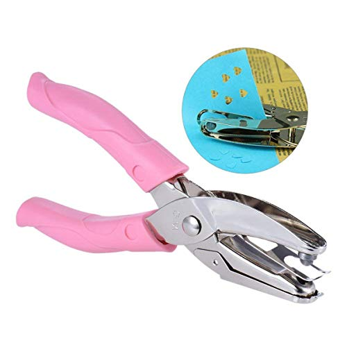 Angel Hair Wire - ODETOJOY Handheld Hole Punchers with Shapes for Binder Single Hole Paper Punch Tool with Pink Grip (Heart)
