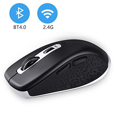cimetech Wireless Bluetooth Mouse, 2.4GHz Dual Mode Slim Noiseless Optical Wireless Mouse with 2400 DPI Compatible for PC, Laptop, Mac, Android, Windows (BT4.0+2.4G Dual Mode - Black)