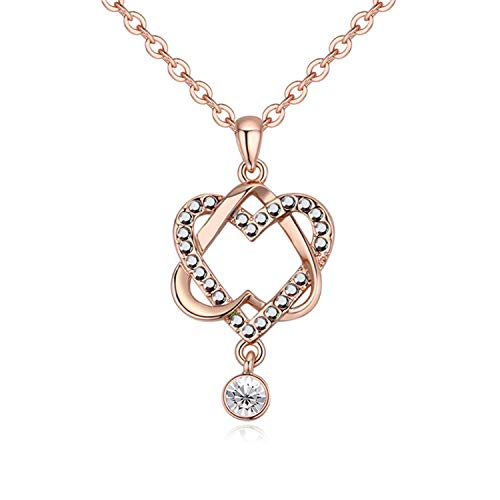Romantic Crystal Hearts Pendant Necklace Birthday Gift Women Mother Jewelry