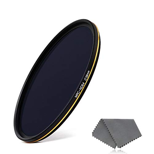 LENSKINS 58mm ND64 Filter, 6 Stop Neutral Density Filter for Camera Lenses, 16-Layer Multi-Resistant Coated, German Optics Glass, Weather-Seal ND Filter with Lens Cloth