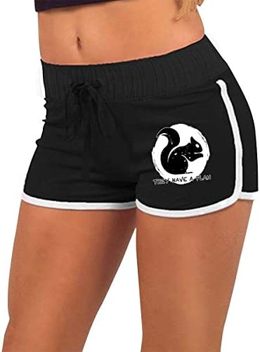fshsh limeiliF They Have A Plan Eekhoorn Dames Lage Taille Stretchy Sexy Gym Workout Yoga Shorts Hot Pants
