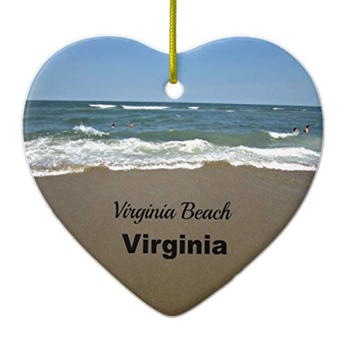 Virginia Beach Virginia Heart Porcelain Ornament Gift 3