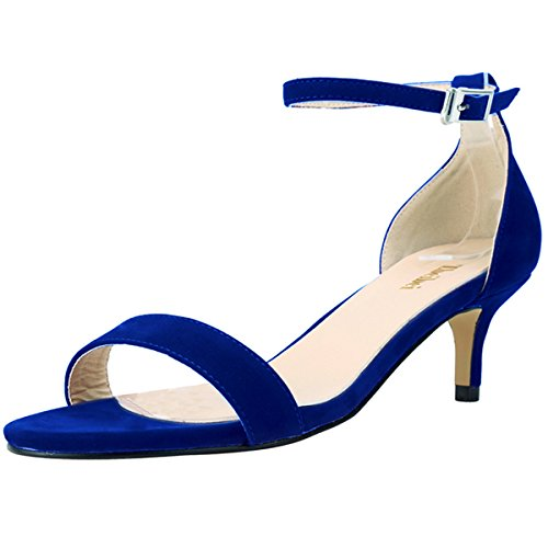 ZBeiBei Women's Mid Heels Open Toe Faux Velvet Summer Shoes Buckle up Sandals(ZBB1051VE42,Blue) -